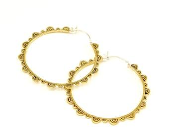 Large Hoop Earrings Gold-tone - Mandala Earrings - Brass with sterling silver ear-wire - Yoga Jewelry - Everyday Earrings