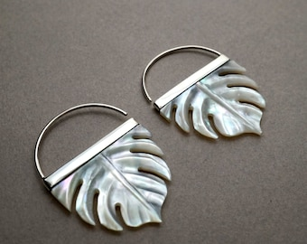 Tropical Leaf Earrings in mother of pearl with sterling silver bezel (S254)