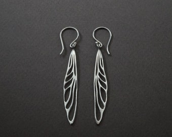 Dragonfly Wing  - Solid Sterling Silver - Dangle Earrings  -  boho insect Jewelry- (s234)