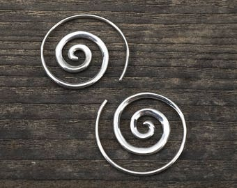 Small Spiral Earrings - Sterling Silver - Small Hoops - Minimalist Earrings - Tiny Hoop Earrings - Sleeper Jewelry-Gift For Girlfriend (S42)
