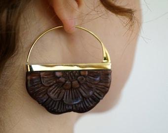 Wood Earrings - Flower earrings - Flower hoop earrings - Brass - for all standard size piercings -  large rising sun (b161)