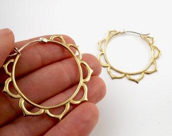 Medium Lotus Hoop Earrings - Gold-tone with sterling posts (082B)