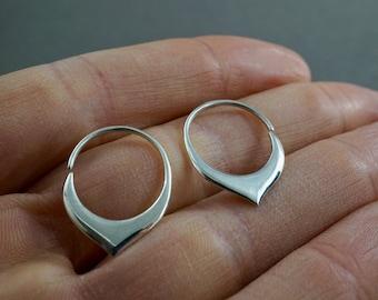 Tiny Petal Hoop Earrings Solid Sterling Silver - Sleeper Hoops (S240)