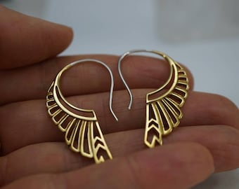Medium Feather Wing Earrings - gold-tone with sterling silver ear-stems - Huntress (b186)