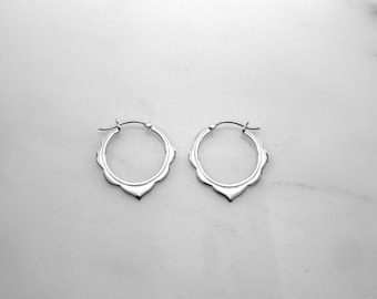 Small Hoops - Solid Sterling Silver - Moroccan Scalloped Earrings - (242S)