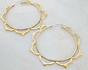 Large Mandala Hoop Earrings in Brass with Sterling Posts (066B)
