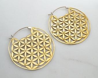 Gold Hoop Earrings - Sacred Geometry Earrings - Flower of Life Jewelry - Mandala Earrings - Boho Hoops (078B)