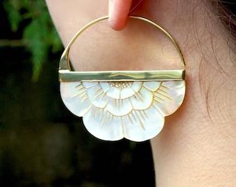 Boho Flower Hoop Earrings in Mother of Pearl - Large - PRE-ORDER