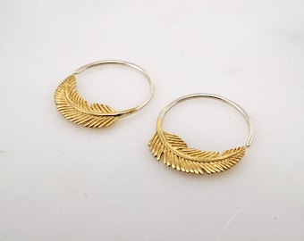 Tiny Feather Earrings 18mm Gold-tone Sleeper Hoops - Nature Jewelry (264B)