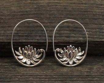 Silver Lotus Flower Hoop Earring - Solid Sterling Silver (148S)