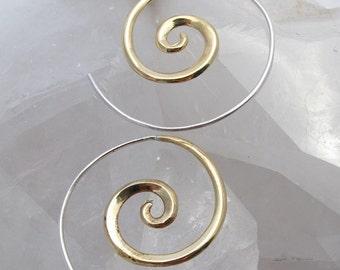 Gold Spiral Earrings - Spiral hoops - Minimalist earrings - Gypsy Earrings - Small Hoop Earrings (b36)