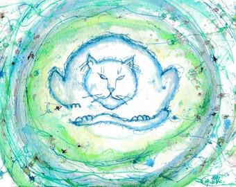 Original Painting Paper. Blue Cat Mandala. Small Artwork, Sensitive blue energy painting.  Watercolor, Ink. 23x16.2 cm. FREE SHIPPING