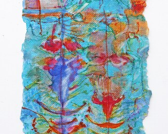 My Handmade paper. Oiginal Painting Abstract. Wall art. Blue. Red. Small Painting.  watercolor. ink. 12 x 6 inh.