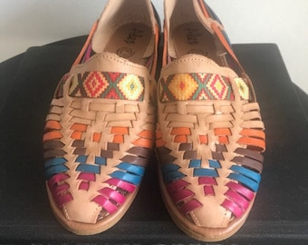 cad9adf86fb New Traditional 100% Leather Mexican Colorful Brown Huaraches (Size 7  Mexican 24)