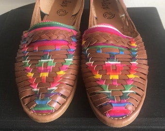 89b2b57c91c New Traditional 100% Leather Mexican Dark Brown Colorful Huaraches (Size US  7 Mexico 24)