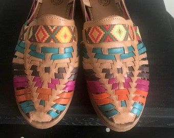 23bcbc22b48 New Traditional 100% Leather Mexican Brown Colorful Huaraches (Size 7  Mexican 24)