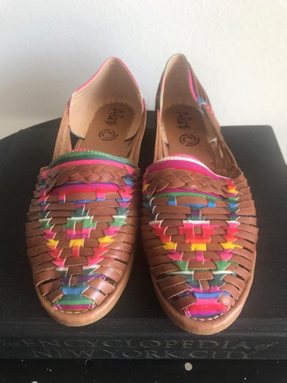 Leather Mexican Dark Brown/Colorful