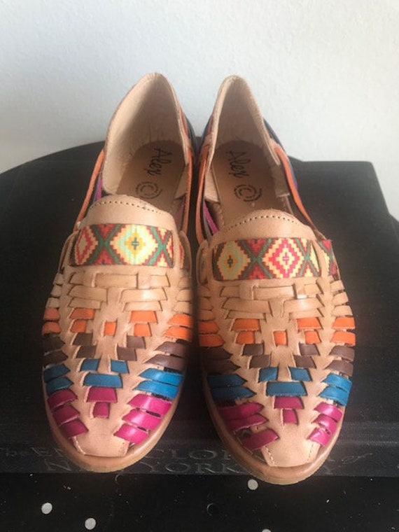 6279d8a6269c2 New Traditional 100% Leather Mexican Brown Colorful Huaraches