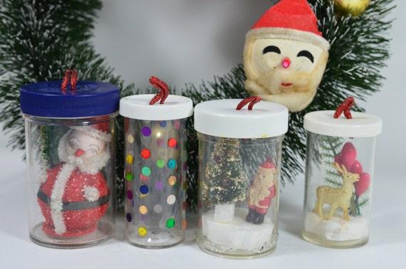 Whimsical Ornaments Repurposed Pill Bottles Vintage Santa Etsy