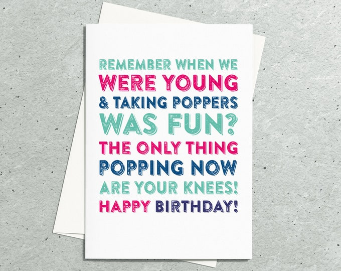 1990s Poppers Old Age Funny British Inspired Greeting Card