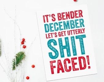 December Bender funny Christmas Card