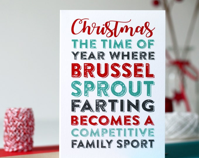 Merry Christmas Farting Brussel Sprout Competition Funny Greeting Card DYPCH24