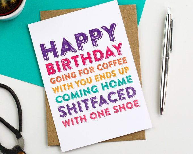 Happy Birthday Going For a Coffee With You Funny Joke contemporary typographic greetings card