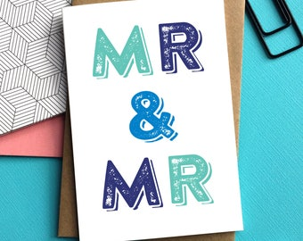 Mr & Mrs typographic Wedding Celebration Contemporary letterpress inspired Greetings Card DYPW024