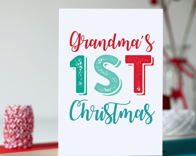 First Christmas Grandma Colourful British Typographic Letterpress Inspired Cheeky Fun Holidays Greetings card