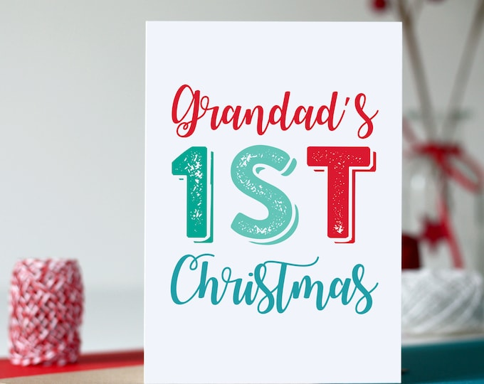 First Christmas Grandad Colourful British Typographic Letterpress Inspired Cheeky Fun Holidays Greetings card
