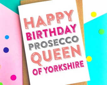 Happy Birthday Personalised Prosecco Queen Birthday Card Funny British Inspired Greetings Card DYPHB120