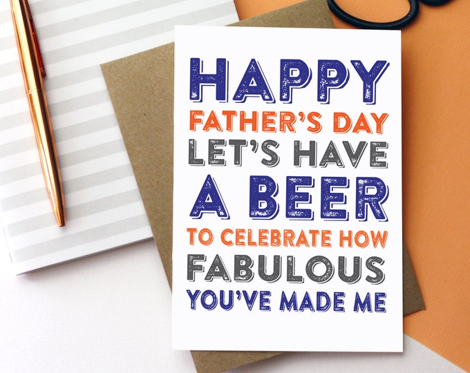 Happy Father's Day Let's Celebrate with a Beer Funny Typographic contemporary Letterpress Inspired Greetings Card