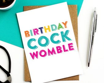 Birthday Cock Womble British Humour Funny Colourful Greeting Card DYPHB04