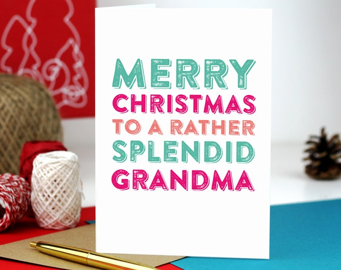 Merry Christmas Grandma Typographic British Inspired Colourful Holidays Greetings Card DYPCH58