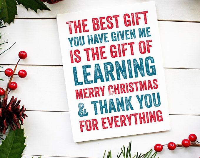 Thank You Teacher New Year Christmas Celebration Card