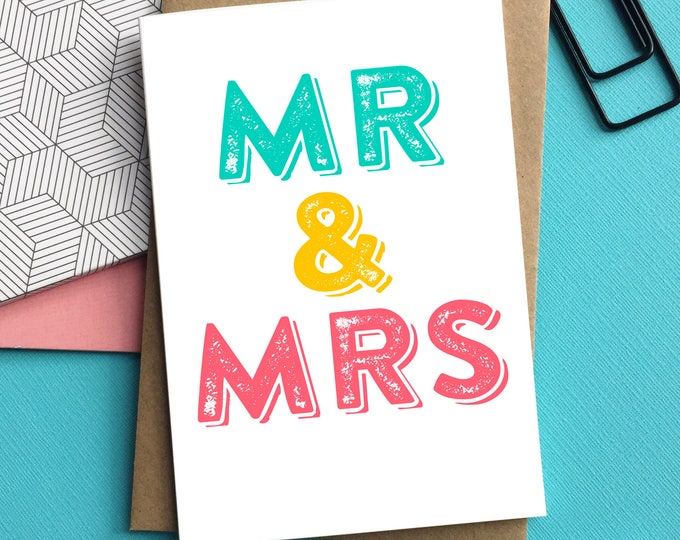 Mr & Mrs Letterpress Inspired Typographic Contemporary Wedding Celebration Greetings Card DYPW025