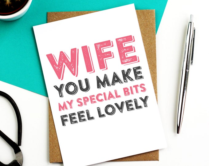 Wife You Make My Special Bits Feel Lovely funny anniversary valentines birthday greetings card DYPHA09