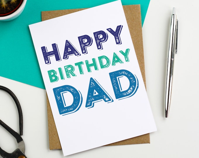 Happy Birthday Dad Letterpress Woodblock inspired Contemporary Typographic British Made Greetings Card