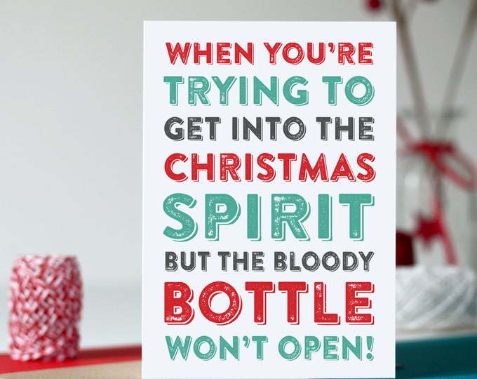 Merry Christmas I'm Dreaming of a White Christmas Cheeky Typographic Funny British Inspired alcohol Greetings Card DYPCH16