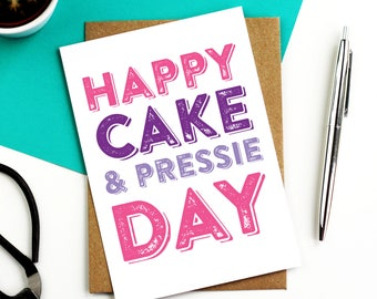Happy Birthday Cake and Pressie Day Funny Birthday Celebration Greetings Card DYPHB16