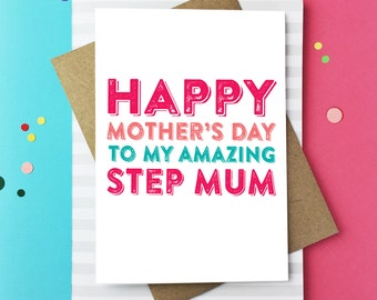 Happy Mother's Day to My Amazing Step Mum Greetings Card British Humour funny card DYPHMD017