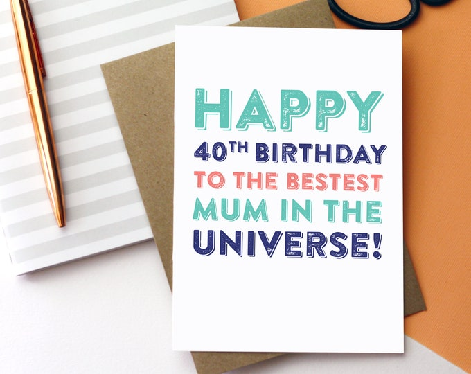 Happy Birthday To the Best Mum in the Universe Personalised Typographic For Her Birthday Card