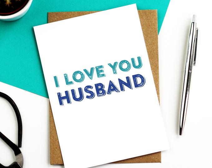 I Love You Husband Letterpress Inspired Contemporary Typographic Wedding Anniversary Valentine Celebration Greetings Card