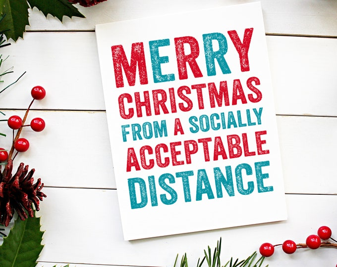 Socially Acceptable Distance Funny New Year Christmas Celebration Card