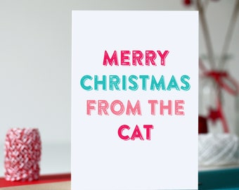 Merry Christmas From the Cat or Dog Typographic British Inspired Colourful Holidays Greetings Card