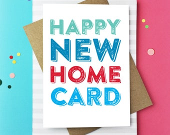 Happy New Home Card Contemporary Typographic New Home Celebration Greetings Card DYPNH003