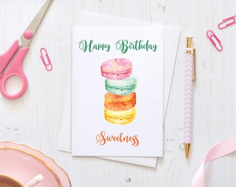 Macaroon Happy Birthday Fun Celebration Greeting Card