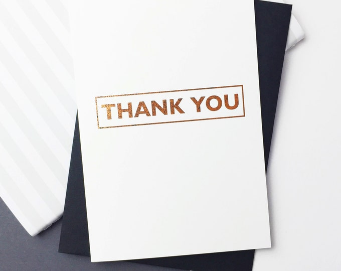 Thank You Luxury Rose Gold 12 Box Set of Cards Contemporary Typographic stylish
