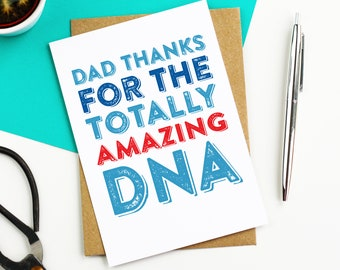 Dad Thanks For the Amazing DNA Letterpress Inspired Woodblock Contemporary Typographic British Made Father's Day Greetings Card