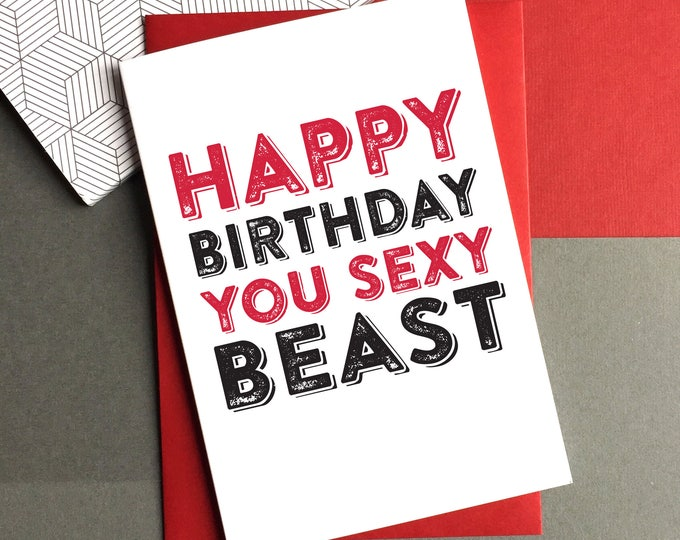 Happy Birthday Sexy Beast Personalised Celebration British Inspired Birthday Celebration Card